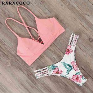 Rxrxcoco bandage swimwear mulheres brasileiro biquíni swimsuit feminino tanga biquíni conjunto de banho de banho push up flor biquini swimsuit 210324