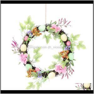 Decorative Flowers Wreaths Festive Supplies & Garden Drop Delivery 2021 Home Decor Natural Rattan Easter Party Wreath Crafts Egg Decoration C