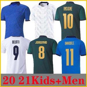 Itália Jersey de futebol 20 21 verde escuro 2021 Barella Chiellini Jorginho El Shaarawy Bonucci Insigne Bernardedeschi Soccer Shirts Homens + Kit Kit Uniformes