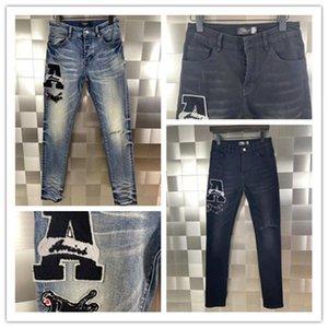Последний список Luxurys Designe Mens Jeans Rhinestone Patch Medal Fold Men Slim Mothercycle Biker Hip Hop брюки высочайшего качества 28-40