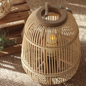 Candle Holders Vintage Bamboo Holder Outdoor Decorative Floor Ornament Lantern Japanese Portavelas Home Decor