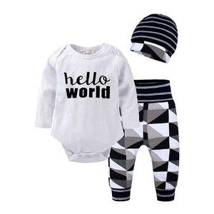 Весна и осень мальчик и девочки младенец хлопка с длинным рукавом Harmony брюки Шляпа Set новорожденной верхней одеждой наборы 796 V2