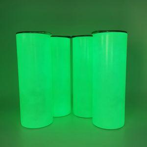 Süblimasyon düz aydınlık şişe 20 oz Silindir ışığı karanlıkta paslanmaz çelik yalıtımlı termos floresan beyaz boş ısı transfer su bardak