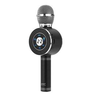 Fashionable Led Light Flashing Speaker Microphone Karaoke Wireless Usb Bluetooth Black Microphones
