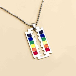 Fashion Necklaces Safety Razor Blade Pendant Necklace Rainbow Creativity Hip Hop Lgbt Lesbian Gay Pride Jewelry