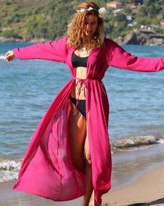 Women Swimwear Bikini Cover-ups Summer Long Sleeve See Through Cardigan Beach Dress Kimono Chiffon Solid Swimsuit Cover Ups