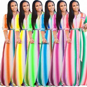 2020 Plus Size New Women Sexy Turn Down Collar Half Sleeve Striped Printing Big Swing Long Dress Fashion Casual DressYF1017 l1oE#