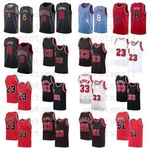 Zach 8 Lavine City Basketball Jersey Mens 23 Dennis 91 Rodman Scottie 33 Pippen Red White Black Stripe Shirt