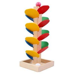 나무 나무 대리석 공 실행 트랙 게임 Montessori 교육 장난감 블록 아기 키즈 어린이 정보 초기 교육 장난감 Q0313