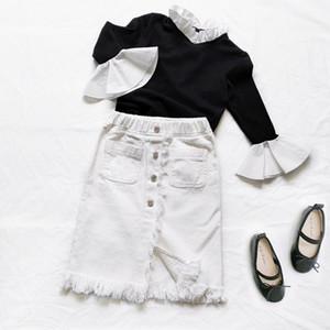Chifuna Kids Enfants Jupes en jean blanc pour les filles Vêtements bébé Jupes blanches Jupes Enfants Vêtements Pour enfants Mode Style de mode 210319