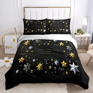 Bedding Sets Christmas Set Fashion Design Cartoon Printed Down Quilt Cover With Pillowcase Black Background Queen King Double Size