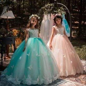 소녀의 드레스 공주의 미인 텍 그린 구슬 장식 장시 가운 꽃 소녀 키즈 첫 번째 친교 파티 웨딩 바닥 길이