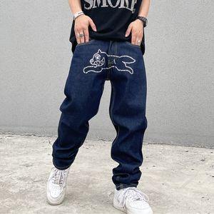 Свободный хип-хоп джинсы брюки для мужчин и женщин прямые промытые синие повседневные джинсовые брюки