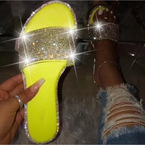 2021 Glitter Slippers Women Summer Sandals 2021 Fashion Bling Female Candy Color Flip Flops Beach Diamond Flat Shoes Outdoor Sandals