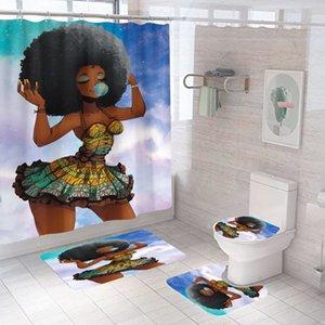 Cortina de chuveiro criativo impressão digital afro africano menina impermeável cortina de chuveiro poliéster tecido banheiro cortina de chuveiro conjunto
