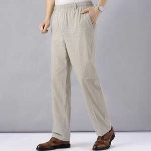 Men High Waist Trausers Summer Pants Clothing Novelty 2021 Linen Loose Cotton Elastic Band Thin Work Vintage Wide Legs