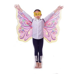 Extremely thin rainbow monarch wings play children size comfortable cosplay clothing and accessories colorful dress accessories with mask