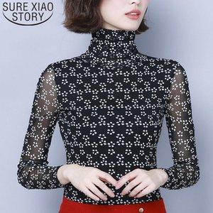 Women's Blouses & Shirts Women 2021 Korean Fashion Clothing Plus Size Tops 4XL Turtleneck Ladies Geometric Slim Long Sleeve 7533 50