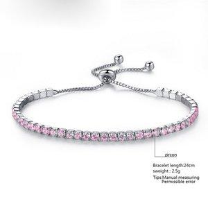 Silver Plated Bracelets Full Diamond Crystal Chain Fit pandora Rhinestone Bangle Bracelet Women Female Gift BR002 QZUA