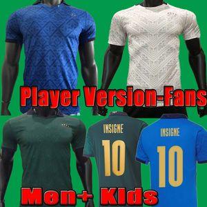 2021 Italy Italie player version italia Soccer Jersey 20 21 Italia Men + fãs de crianças Chiellini El Shaarawy Bonucci Insigne Bernardeschi Camisa de futebol Kits conjunto