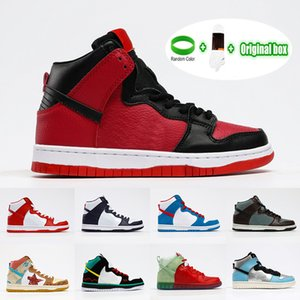 Preferential sbb Dunk High Pro Casual Shoes Cali (2014) Dream team California White Leather SB dunky Chunky Shoe Body Green Red Sole Doraemon Skateboarding 36-45