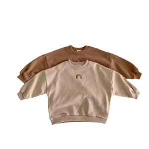 INS Autumn Toddler Baby Girls Boys Rainbow Embroidery Sweatshirts Tops Kids Long Sleeve T-shirt Sweatshirt Clothes Outfits