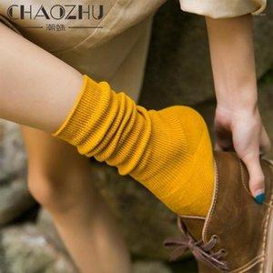 CHAOZHU Japanese Korea High School Girls High Socks Loose Solid Colors Double Needles Knitting Cotton Long Socks Women1