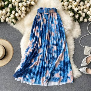 Skirts Ins Tie Dye Print Long Skirt For Women Elegant Belted High Elastic Waist Pleated Casual Female Work Daily