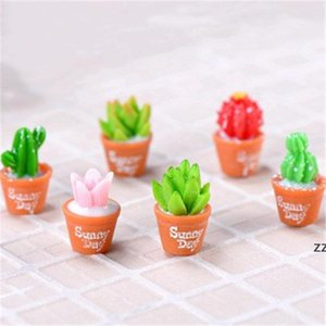 Simulation Cactus Succulent Pot Miniature Bonsai Micro-landscape Moss Terrarium Plant Decor Fairy Garden Accessory Resin Craft HWD10311