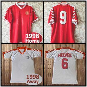 Jersey de football de la Coupe du monde Rétro 1998 Danemark 98 00 Danois M Laudrup Helveg Heintze Vintage Chemise de football classique Calcio Schmeichell.