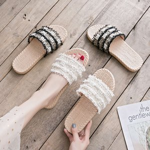 sandal Slippers for women's wear in summer fashion versatile flat bottomed lazy one word Pearl Beach cool