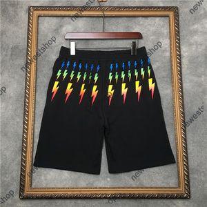 2021 Summer designer Short Mens paris color geometry printing shorts patchwork Pants Fashion casual cotton breeches