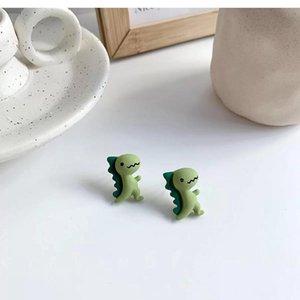 Stud Super Cute Fun Little Dinosaurs Earrings Pink Blue Green Cartoon Funny Girl Fashion Resin Wholesale Jewelry