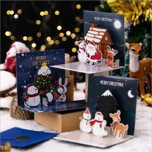 Christmas 3D Greeting Cards Christmas Eve Christmas Greeting Happy Holiday Cards 3D Three-dimensional Santa Claus Card Elk Snowman OWA8743