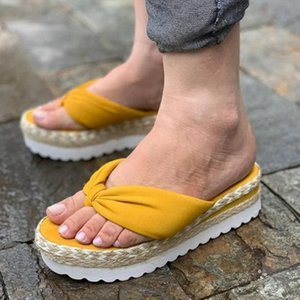 Kadın Sandalet Platformu Ayakkabı Yay 2021Summer Dokuma Terlik Kapalı Açık Flip-Flop Rahat Plaj Terlik