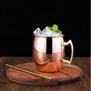 Moscow Mule Mugs Stainless Steel Beer Cup Rose Gold Silver Copper Mug Hammered Plated Bar Drinkware Beverage Cocktail Glass SEAWAY FAF10049
