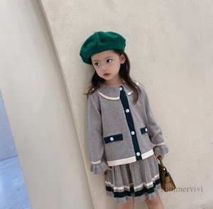 Preppy style girls knitted clothing sets kids contrast color falbala lapel long sleeve sweater cardigan+stripe pleated skirt 2pcs fall children outfits Q1141