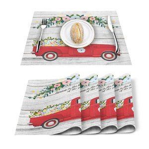 Table Runner 4 6pcs Spring Red Trolley Flower Wood Kitchen Placemat Set Dining Mats Cotton Linen Pad Bowl Cup Mat Home Decor