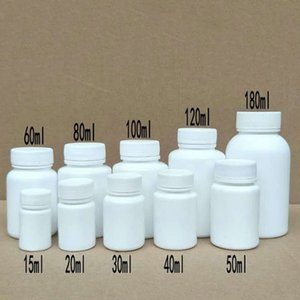 50PCS 15ml 20ml 30ml 60ml 100ml Plastic PE White Empty Seal Bottles Solid Powder Medicine Pill Vials Reagent Packing Containers