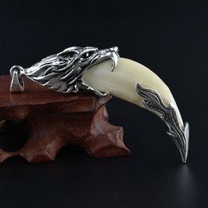 Подвеска волк настоящая черная собака зуб титановый сталь ожерелье тибетский мастиф цементируют кулон, чтобы оперить злых мужчин и женщин влюбленных