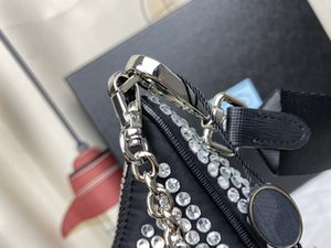 Modern Nylon Women Mini borse a borse Hobo Shoulder Borse con abbellimenti di cristallo all-over spicca la borse a camouflage di moda