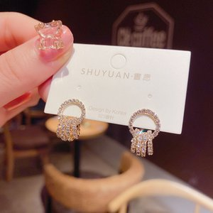 Crystal Circle Dangle Drop Earrings For Women Luxury Korean Earring Wedding Party Fashion Jewelry Ladies Pendientes