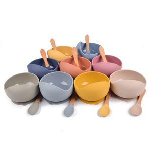 Утварь детский силиконовый чаша ложка набор 2 шт. Кормления совок столовая посуда цикла пищевой тарелкой