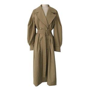 Women's Trench Coats Winter Long Coat Women Turn-down Collar Korean Stylish Double Breasted Sashes Oversized Female Windbreaker Autumn