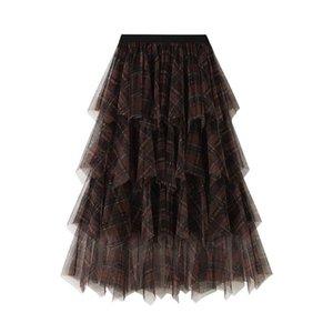Women Tulle Plaids Skirts Princess Layered Ball Gown Puff Lolita Mesh Skirt Ballet Vintage Midi Pleated