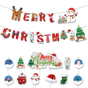 Christmas Banner Cake Insert Card Santa Claus Elk Dessert Table Party Decoration Sign Halloween Valentine's Day New Year Gifts