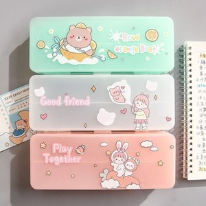 Pencil Cases 2022 Double Layer Stationery Box Simple Lovely Cartoon Girl Heart Pen Female Ins Japanese Primary Secondary School Student Bag
