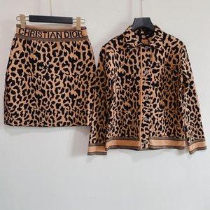 Два куска платье 2021 осень ослабесы шеи с длинным рукавом леопардовый свитер и для женской моды печати юбки 2 штуки 0704-12