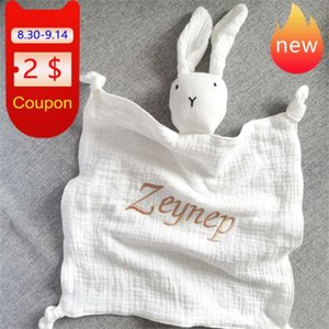 Name Embroided Kids Sleep Toy Soothe Appease Towel Bibs Custom born Sleeping Dolls Baby Cotton Muslin Comforter Blanket 210928
