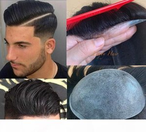 Full Thin Skin Toupees Injected Hair Invisible Knots 0.06mm PU Base Men Toupees Straight Indian Virgin Human Hair Replacement for White Men